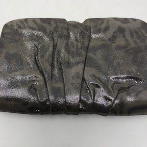 Rodo Metallic Animal Print Leather Clutch